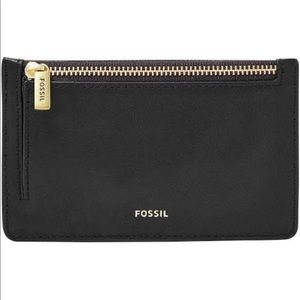Fossil black leather and gold card & coins holder